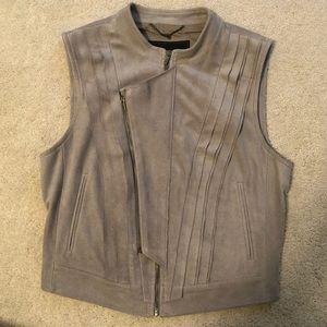 BCBG MAXAZRIA gray suede vest